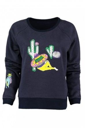 Siesta Print Navy Sweatshirt