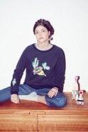 LOWIE Siesta Print Navy Sweatshirt
