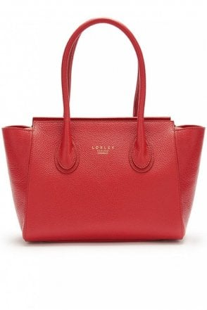 Mini Devonshire Tote in Pillarbox Red with Liberty Print Lining