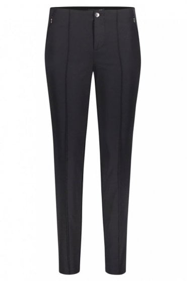 Anna Zip Slim Fit Trousers in Black