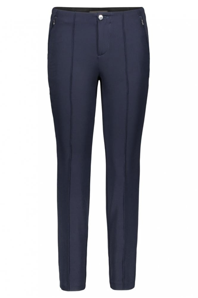 Mac Anna Zip Slim Fit Trousers in Dark Blue