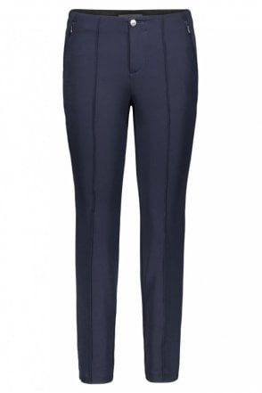 Anna Zip Slim Fit Trousers in Dark Blue