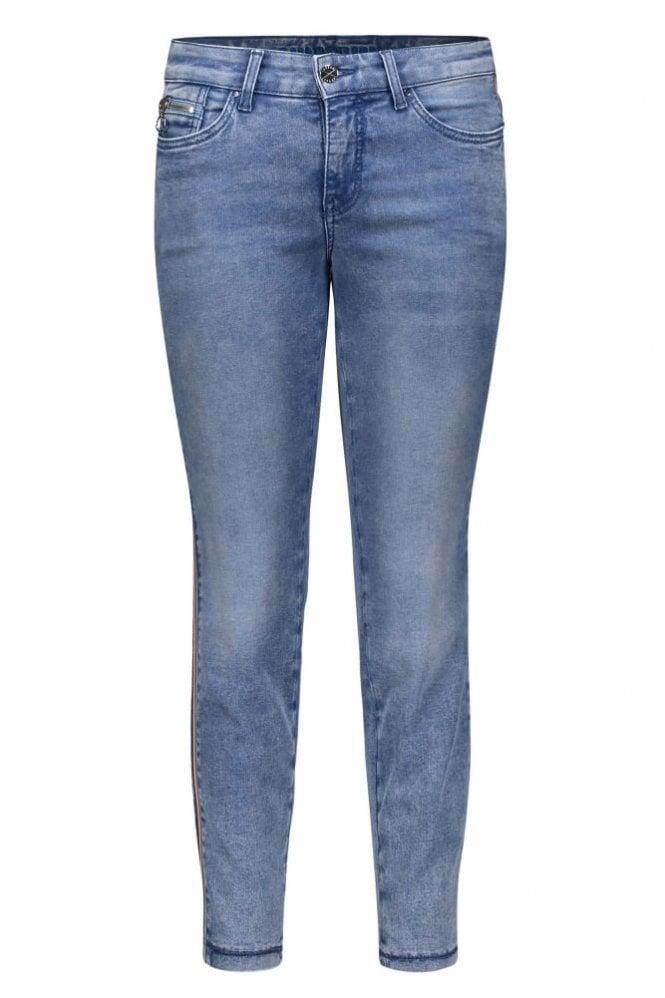 Mac Dream Skinny Cropped Jeans in Light Blue Random Used Wash