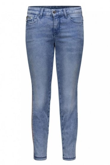 Dream Skinny Cropped Jeans in Light Blue Random Used Wash