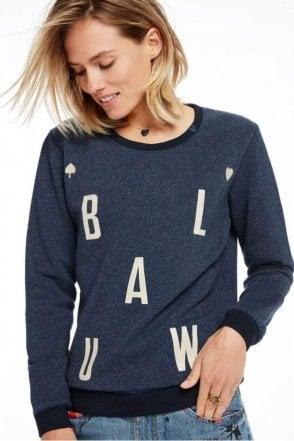 Amsterdams Blauw Logo Sweater in Navy Melange