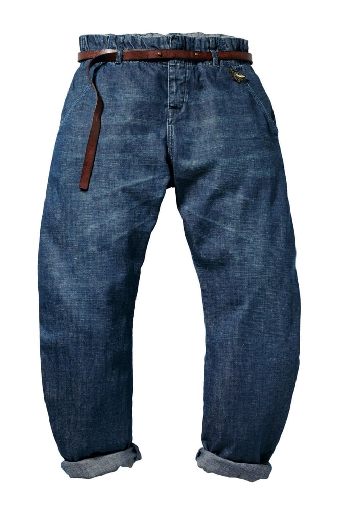 maison scotch bananita pants in denim blue at sue parkinson. Black Bedroom Furniture Sets. Home Design Ideas
