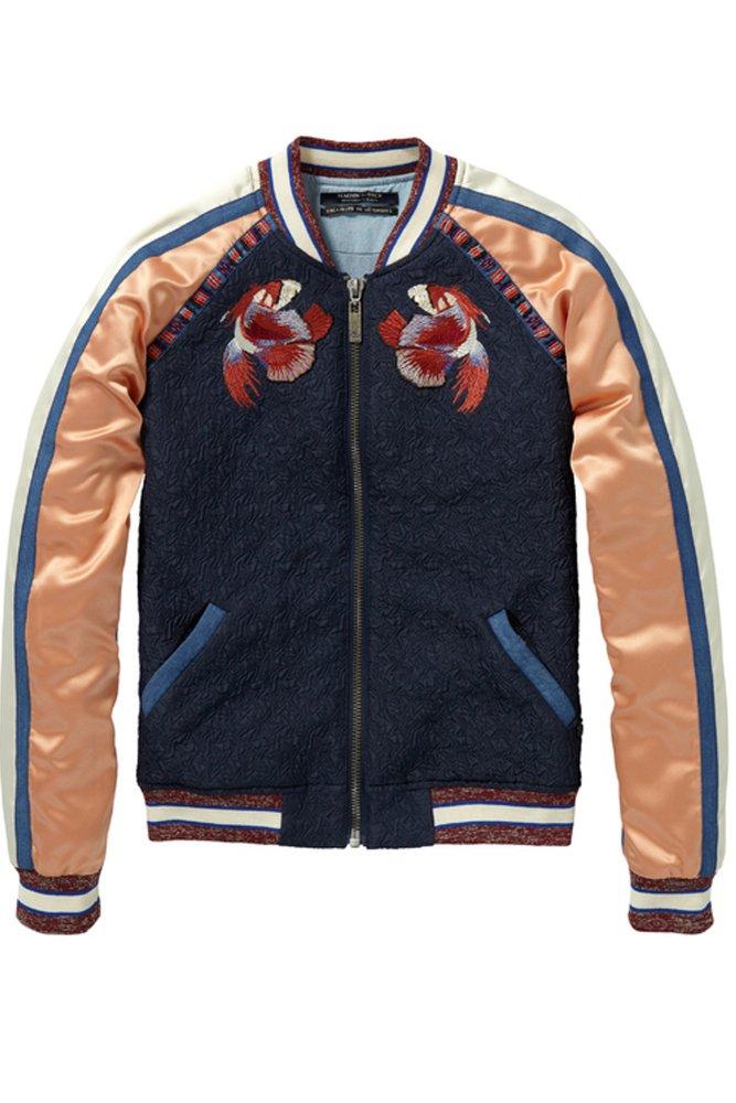 Maison Scotch Baseball Jacket With Embroidery  Sue