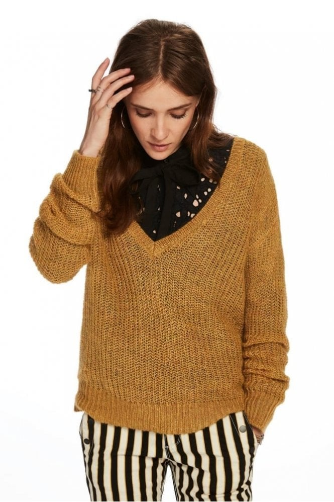 Maison Scotch Deep V-Neck Knit Top