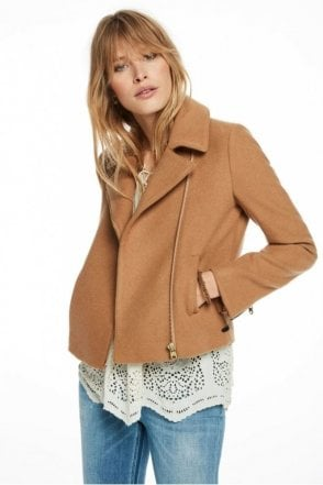 Denim Detailed Peacoat Jacket in Sand