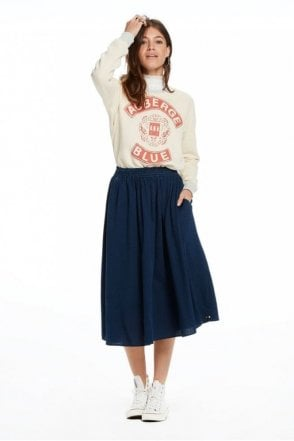 Draped Indigo Skirt