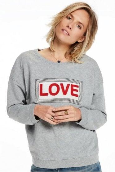 Easy Appliqué Sweater in Grey Melange
