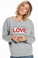 Maison Scotch Easy Appliqué Sweater in Grey Melange