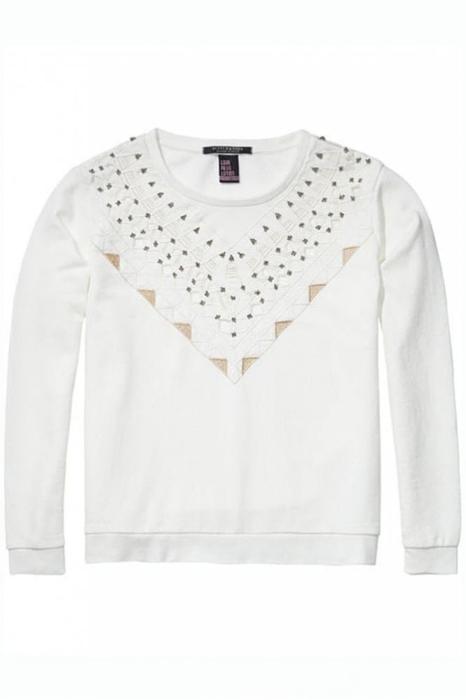 Maison Scotch Embellished Sweater in Off White