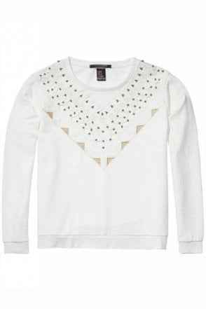 Embellished Sweater in Off White