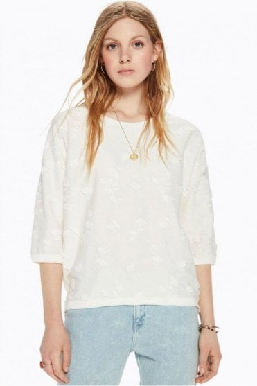 Embroidered Sweater in Denim White