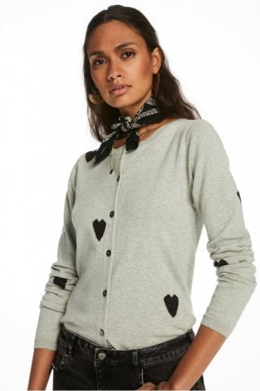 Heart Patterned Cardigan in Grey/Black