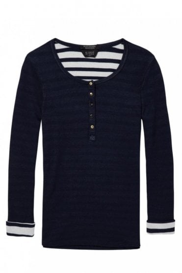 Long Sleeve Grandad Top in Night