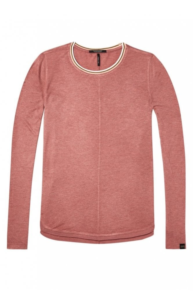 Maison Scotch Lurex Long Sleeve Top in Dusty Rose Mélange