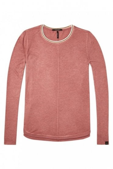 Lurex Long Sleeve Top in Dusty Rose Mélange