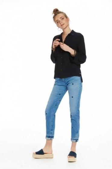 Petit Ami Indigo Star Slim Fit Boyfriend Jeans