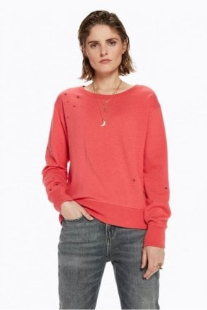 Placement Embroidered Sweater in Raspberry