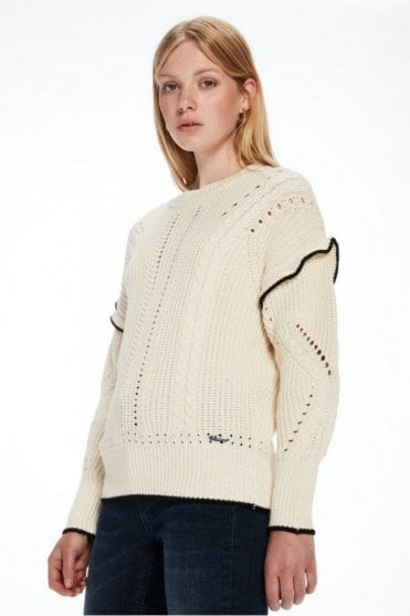 Ruffle Cable Knit Pullover in Ecru