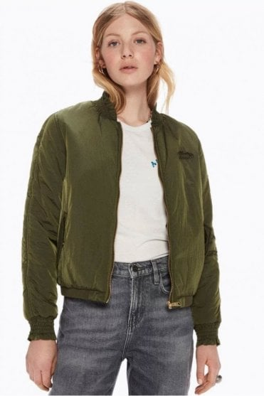 Ruffle Detail Bomber in Military Green