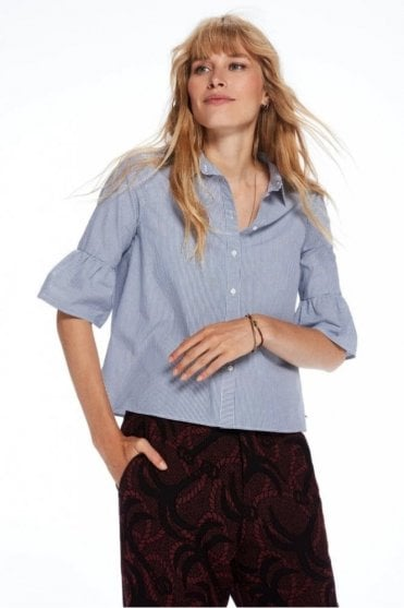 Ruffle Sleeve Buttoned Shirt