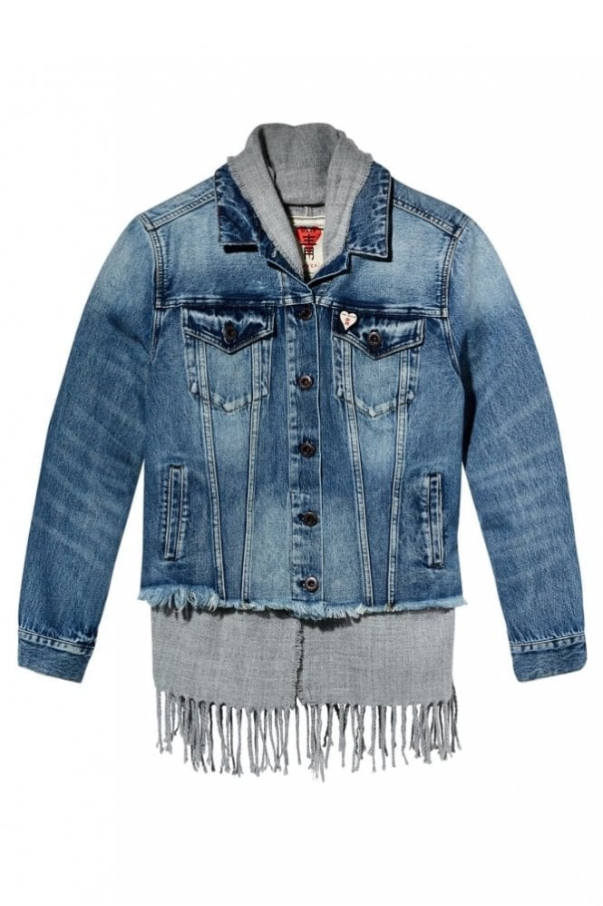 Maison Scotch Scarf Lined Trucker Jacket