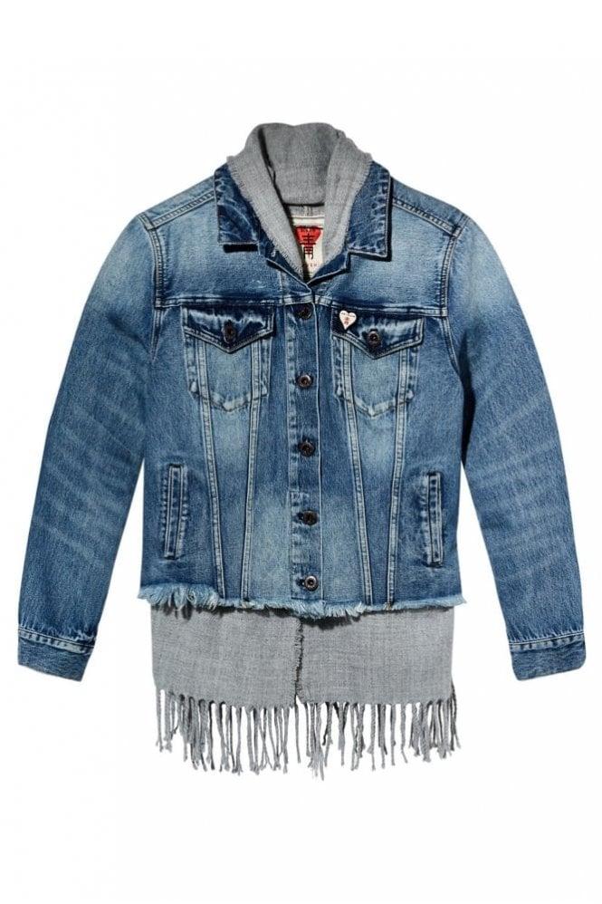 Maison Scotch Scarf Lined Trucker Jacket