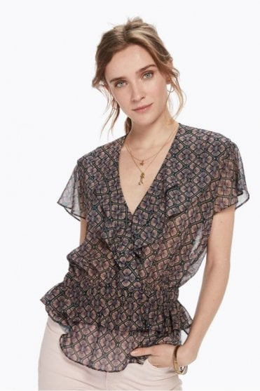 Sheer Print Ruffle Top