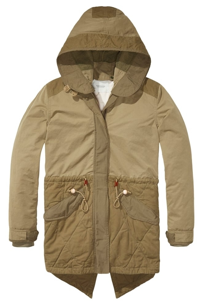 maison scotch winter parka in khaki at sue parkinson. Black Bedroom Furniture Sets. Home Design Ideas