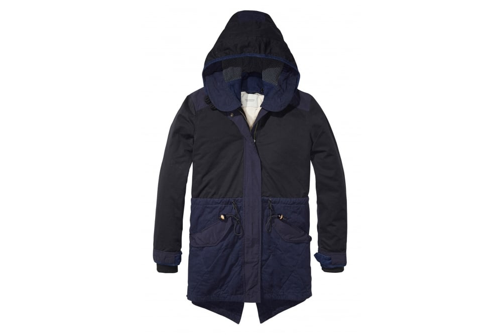 maison scotch winter parka in navy at sue parkinson. Black Bedroom Furniture Sets. Home Design Ideas