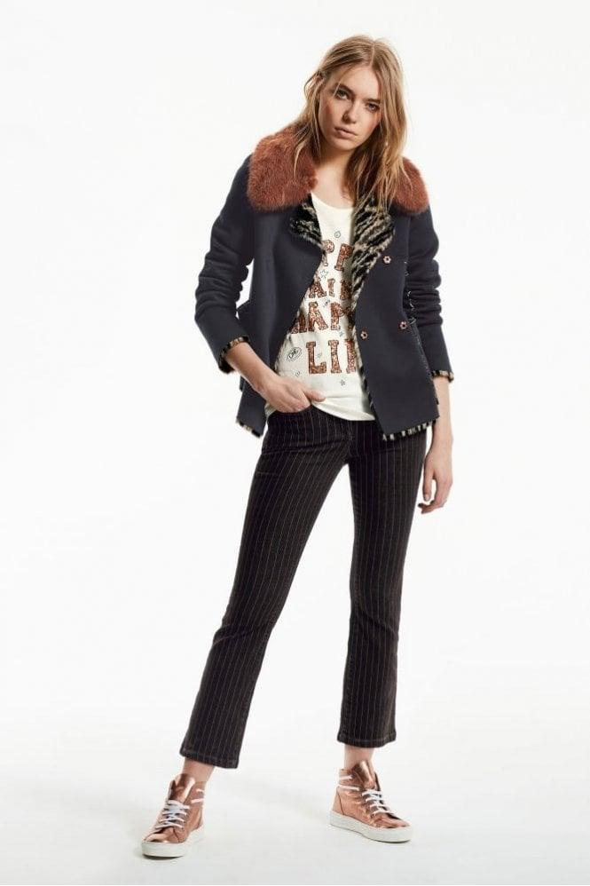 Marc Aurel Black Denim Pinstripe Jeans