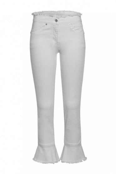 Crop Jean with Frill Trim in White