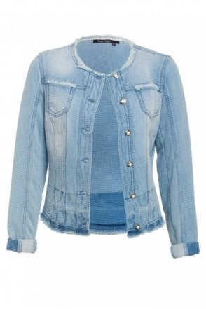 Denim Look Jacket in Blue