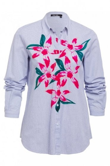 Fine Stripe Shirt with Floral Front