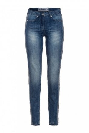 Jean with side Stripes in Medium Blue