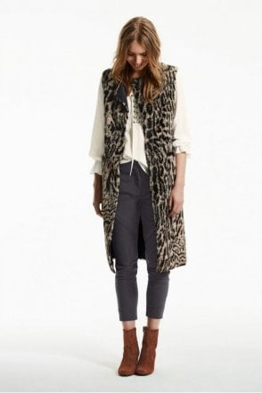 Light Copper Reversible Animal Print Waistcoat