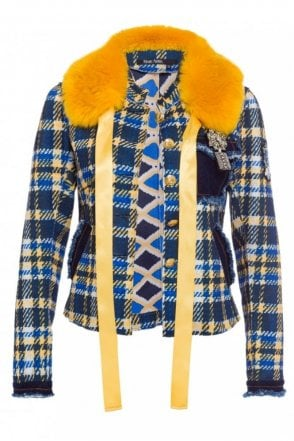 Navy and Yellow Check Jacket