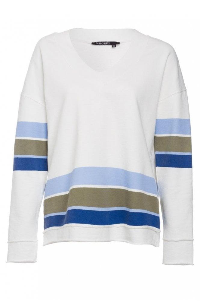 Marc Aurel Stripe Sweat in Off White/Blue