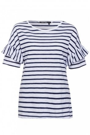 Stripe Tee with Frill Sleeves in Eclipse