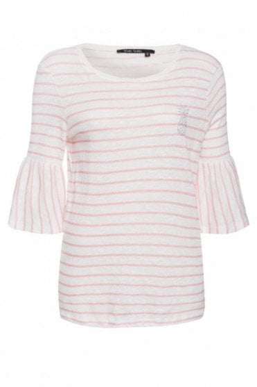 Stripe Tee with Frill Sleeves