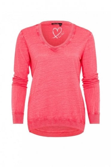 V-Neck Linen Sweater in Coral