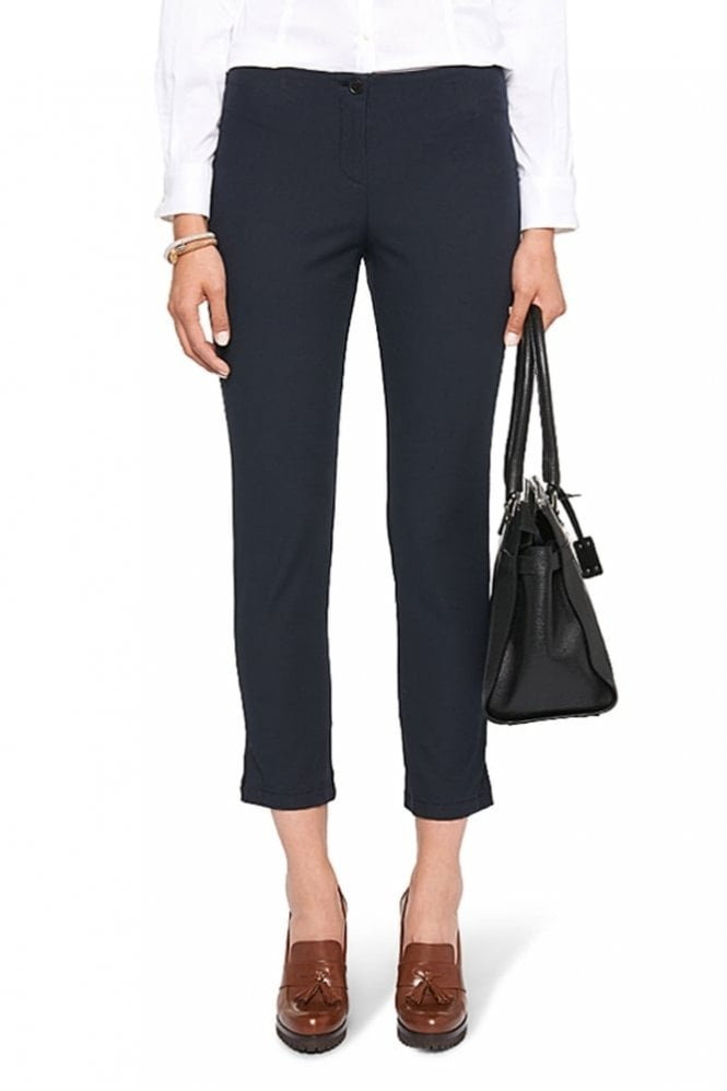 Marc Cain Ankle-Length Stretch Trousers in Midnight Blue