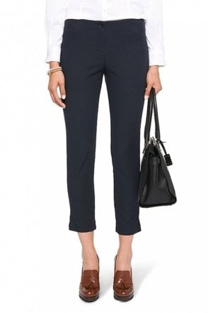 Ankle-Length Stretch Trousers in Midnight Blue