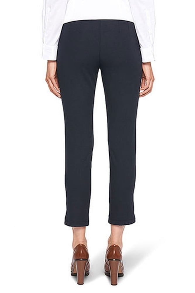 marc cain ankle length stretch trousers in midnight blue. Black Bedroom Furniture Sets. Home Design Ideas