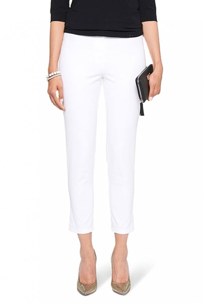 Marc Cain Ankle-Length Stretch Trousers in White