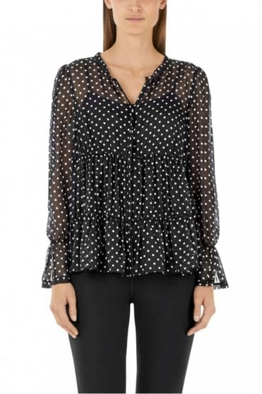Black and White Blouse in Silk Chiffon