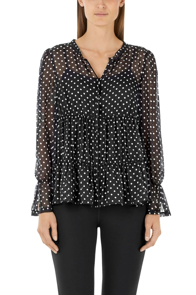Marc Cain Black and White Blouse in Silk Chiffon